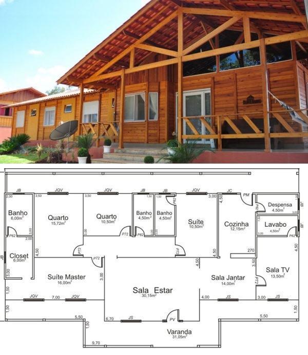 casa de madeira planta