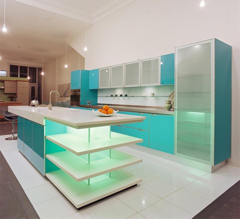 cozinha azul verde